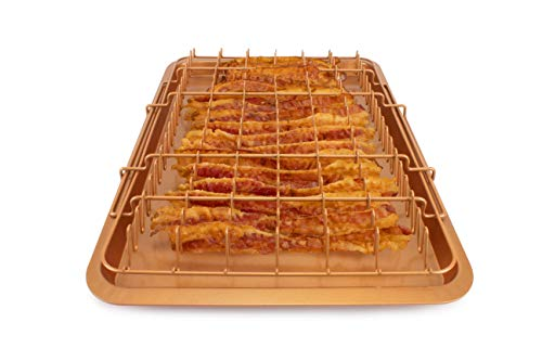 EaZy MealZ Bacon Rack & Tray Set   Specialty Tray and Grease Catcher   Even Cooking   Non-Stick   Healthy Cooking Material   Customized Cooking Experience (X-Large, Copper)