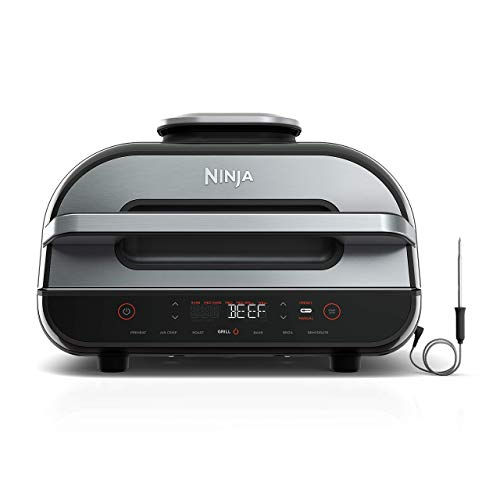 Ninja FG551 Foodi Smart XL 6-in-1 Indoor Grill with 4-Quart Air Fryer Roast Bake Dehydrate Broil and Leave-in Thermometer, with Extra Large Capacity, and a stainless steel Finish (Renewed)