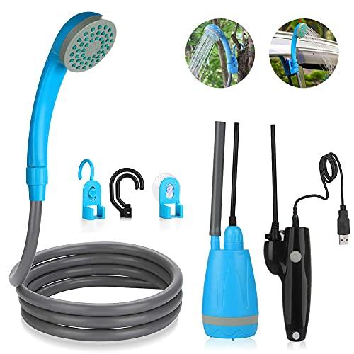 DASIAUTOEM Ducha de mano con batería para camping, ducha de exterior caliente / fría, ducha de jardín, ducha con cable de carga USB para exteriores, jardín, viajes, lavado de coche, playa (azul)