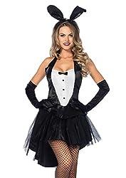 top 10 the of playboy Women's Leg Avenue Classic Bunny Halloween Costume Black / White Small / Medium