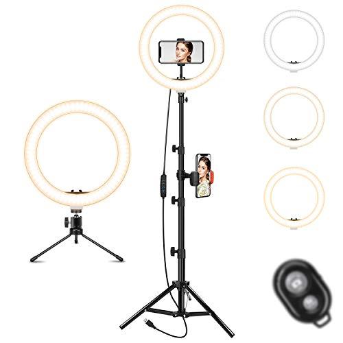 Ringlicht mit Stativs tänder - Dimmbares Selfie-Ringlicht LED-Beleuchtungskreis mit Stativ und Telefonhalter für Live-Stream/Make-up/YouTube-Video, kompatibel für iPhone Android Remote Shutter
