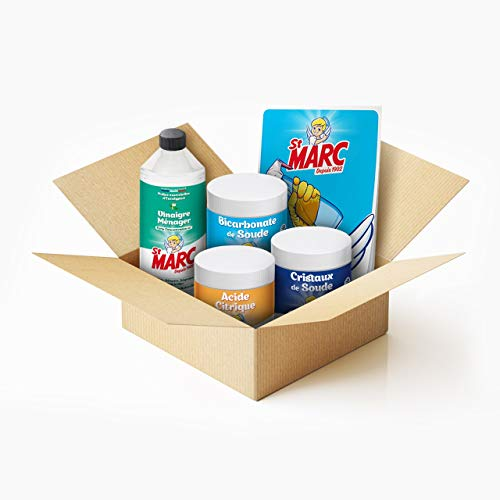 St Marc Kit Essentiels de Produits Ménagers d'Origine 100% naturelle à faire soi-même (DIY) : Bicarbonate de Soude, Acide Citrique, Cristaux de Soude et Vinaigre ménager + Livret de Recettes