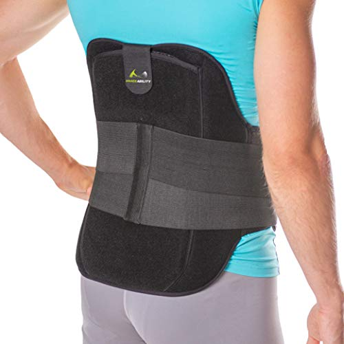 BraceAbility LSO Back Brace for Herniated, Degenerative & Bulging Disc Pain Relief, Sciatica, Spine Stenosis | Medical Lumbar Support Device for Post Surgery & Fractures with Hot/Cold Therapy (XL)