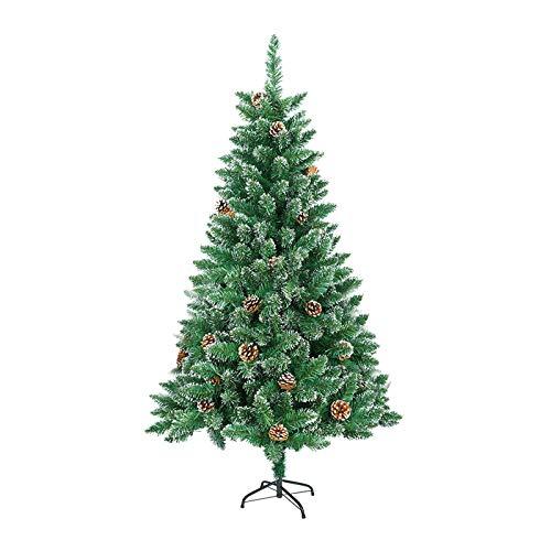 UISEBRT Árbol de Navidad Artificial 210cm - Árbol de Navidad de PVC Verde Árbol de Navidad Decorativo con Soporte de Metal (PVC Verde con Efecto Nieve y piñas, 210cm)