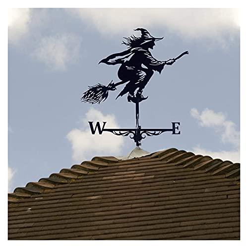 JHWSX Nostalgische Hexe Wetterfahne für Wandgarten Dekor Windrad Eisen Edelstahl Langlebiges Retro Bauernhaus Design