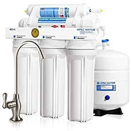 """APEC Water Systems Ultimate RO-Hi Top Tier Supreme Certified High Output Fast Flow Ultra Safe Reverse Osmosis Drinking… 1 Supreme quality: built with super long-lasting 100% US made filters, RO-Hi is the most durable system in the industry that lasts for decades. System is designed, engineered and assembled in USA to guarantee water safety & your health. High performance: Tested and certified by WQA to remove up to 99% of contaminants including arsenic, chlorine, lead, fluoride, heavy metals and 1000+ contaminants. Provides unlimited ultra-fresh, clean, great tasting water right at home Quick dispense: big 3/8"""" fast-flow output design increases the flow rate of water from tank to faucet. The higher water flow will allow you to fill up a glass or pitcher of water much faster. Reduces wait time when drawing and filling large pots of water for making soups or beverages."""