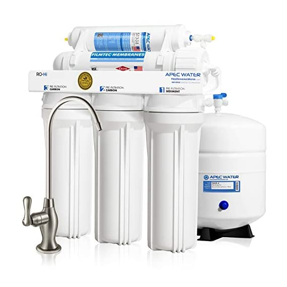 "APEC Water Systems Ultimate RO-Hi Top Tier Supreme Certified High Output Fast Flow Ultra Safe Reverse Osmosis Drinking… 1 Supreme quality: built with super long-lasting 100% US made filters, RO-Hi is the most durable system in the industry that lasts for decades. System is designed, engineered and assembled in USA to guarantee water safety & your health. High performance: Tested and certified by WQA to remove up to 99% of contaminants including arsenic, chlorine, lead, fluoride, heavy metals and 1000+ contaminants. Provides unlimited ultra-fresh, clean, great tasting water right at home Quick dispense: big 3/8"" fast-flow output design increases the flow rate of water from tank to faucet. The higher water flow will allow you to fill up a glass or pitcher of water much faster. Reduces wait time when drawing and filling large pots of water for making soups or beverages."