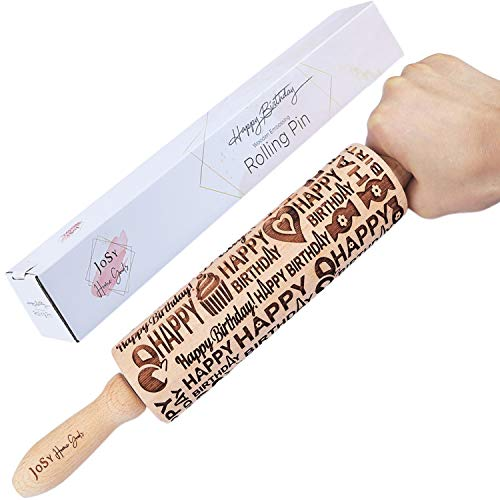 Happy Birthday Embossed Rolling Pin I EXTRA DEEP engraved rolling pin for Cookies I Rolling Pin with Design for Baking I Embossing rolling pin | Rolling Pin Made of Beech Wood I Baking rolling pin