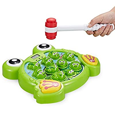 Think Gizmos TG702 Interactive Whack a Frog Game - Fun Hammering Toy Gift for Toddlers and Young Kids aged 3 4 5 6 7 years old (Green) from Think Gizmos