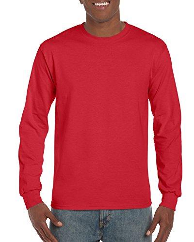 Gildan Men's Ultra Cotton Long Sleeve T-Shirt, Style G2400, Red, Large