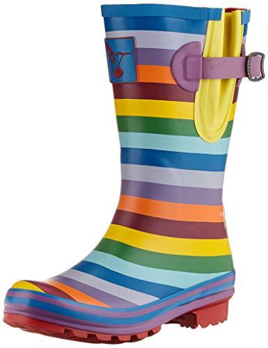 Evercreatures Frauen Gummistiefel Rainbow Tall Regenbogenfarben - Fallen normal aus, Mehrfarbig, 37 EU