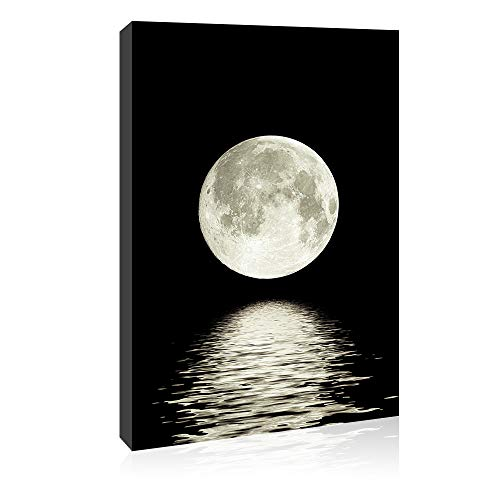 Canvas Wall Art Prints Moon Pictures Printed on Canvas Black and White Wall...