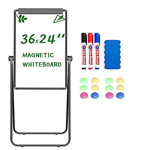 Yaheetech Stand White Board Magnetic 36x24 inches Dry Erase Board Double Sided Adjustable Flipchart Easel Portable Whiteboard with Flipchart Hook for Tabletop Presentation Discusssion Meeting Teaching
