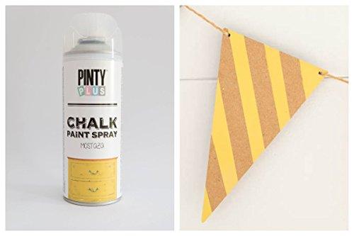 Pintura a la tiza en aerosol, con base al agua, varios colores,400ml , amarillo mostaza, 400 ml