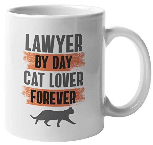 Taza de regalo de café y té Lawyer Cat Lover para abogado, abogado, hombre o mujer