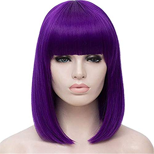 TopWigy Women Bob Wig Bangs Short Straight Hair Wigs Synthetic Colorful Cosplay Daily Party Wig 14 Inch, Purple