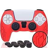 Protección de silicona para mando PS5   Accesorio de protección para PS5 Dualsense   Diseño antideslizante compatible con consola PS5   Protege el mando Playstation 5 de golpes y arañazos (rojo)