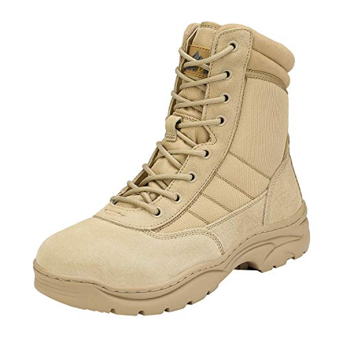 NORTIV 8 Men's Military Tactical Work Boots Side Zipper Leather Outdoor Motorcycle Combat Boots Sand Size 11 M US Trooper