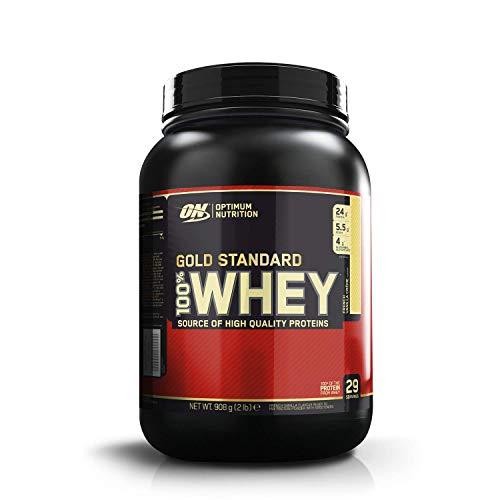 Optimum Nutrition ON Gold Standard Whey Protein Pulver, Eiweißpulver zum Muskelaufbau, natürlich enthaltene BCAA und Glutamin,, French Vanilla Crème, 29 Portionen, 900g, Verpackung kann Variieren