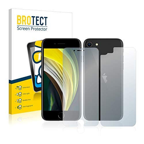 BROTECT Protector Pantalla Cristal Compatible con Apple iPhone SE 2 2020 (Frontal + Trasera) Protector Pantalla Vidrio Dureza 9H AirGlass