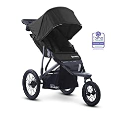 """Extra wide seat sits high to give child great visibility, multi-position seat recline Includes parent organizer, running leash, and tire pump Quick release 16"""" rear wheels and 12.5"""" swivel front wheel that locks straight Aluminum frame with shock abs..."""