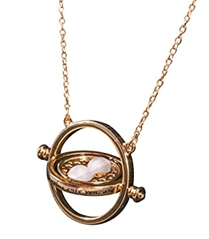 Disguise Harry Potter Hermione Granger Time Turner Necklace Replica Hour Glass Pendant Costume Jewelry Gold