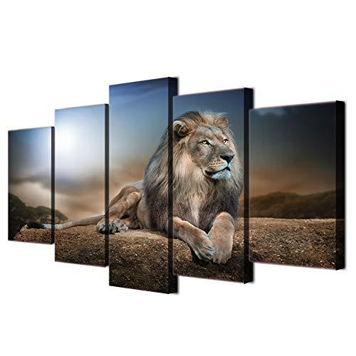 YDBDB 5 stuks Hd gedrukt canvas dieren leeuwen afbeelding schilderij kamerdecoratie poster afdrukken muurkunst ohne gerahmt 40 x 60, 40 x 80, 40 x 100 cm.