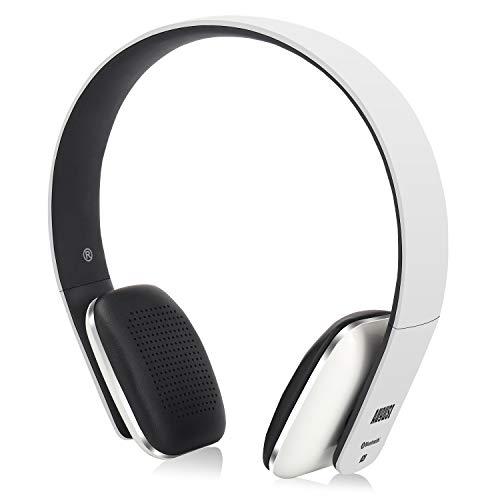 August EP636 - Auriculares Bluetooth de Diadema Casco Inalámbrico NFC con Micrófono Manos Libres para Teléfonos, Tabletas y Ordenadores, color Blanco