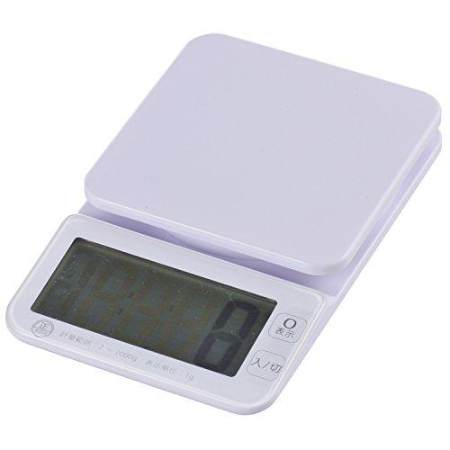 オーム電機 OHM 大画面 デジタルキッチンスケール 洗える計量皿 2kg計 ホワイト COK-S200-W