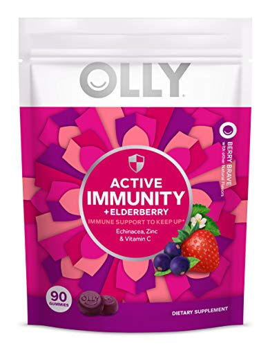 Olly Active Immunity Gummy Supplement with Elderberry, Zinc, Vitamin C, Immune Support, Berry Flavor, 30 Day Supply, 90 Count