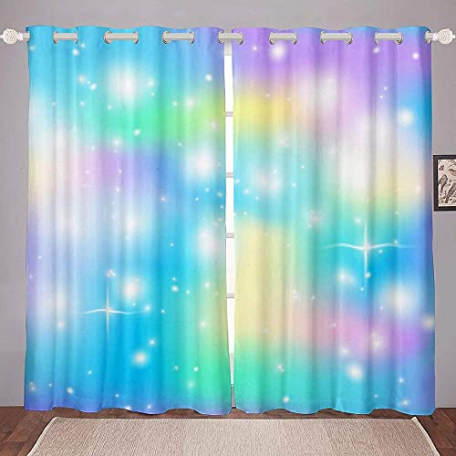 """SPXUBZ Girl Tie Dye Curtains Blackout Room Darkening Window Curtain for Living Room Or Bedroom Housewarming Gift – Set of 2 Panels 52"""" W x 63"""""""