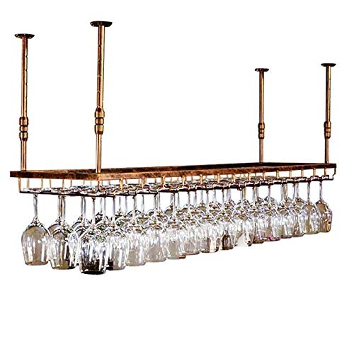 JHGJBJ Weinglashalter/weinständer Hängeregal, Weinglas Anhänger Kreative Can Hang 24 Cups, Wandregal Würfel Von Kitchen Bar Bodega (Color : Brown)