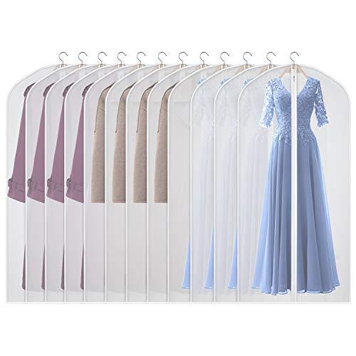 Univivi lightweight Garment Bag 60 inch Suit Bag for Storage (Set of 12), Foldable Washable Dress Bags for Long Dress Dance Costumes Suits Gowns Coats (60cm*152cm)
