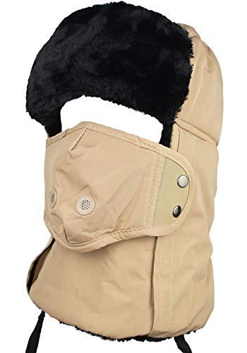 QHIU - Pasamontañas de felpa cálida para invierno con orejas, protector de cuello y boca, protección facial para esquís al aire libre, unisex (versión actualizada)