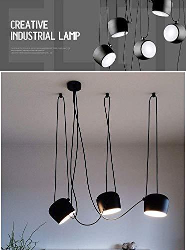 Ruixf E27 Loft Chandelier Luce da Pranzo Industriale Moderna Lampada a Sospensione Plafoniera Regolabile in Lunghezza (No Lampadine) (4 Teste,Nero)