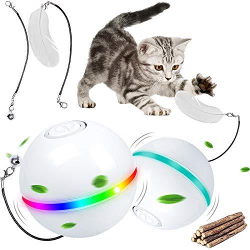 G.C Interaktives Katzenspielzeug Elektrisch Katzenball Katzenspielzeug Ball Spielzeug für Katzen kleines Hundespielzeug mit buntes LED-Licht, selbstdrehender 360-Grad-Ball