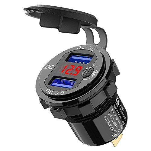 Andifany Cargador de Coche USB de Carga RáPida 3.0 Dual 12V, Enchufe de Aluminio con BotóN de Interruptor y VoltíMetro Digital Rojo, Impermeable