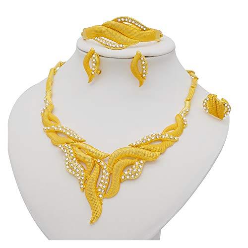 ZCPCS Dubai Jewelry Sets Dorado Collar y Pendiente Set para Mujeres African Francia Boda Fiesta de Boda 24k Joyería Etiopía Regalos Nupciales (Metal Color : BJ874)