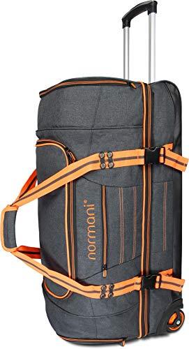 normani Reisetasche Reisetrolley mit Rollen 90 oder 120 Liter Volumen mit Verschiedenen Fächern Farbe A+ Orange Größe 90 Liter