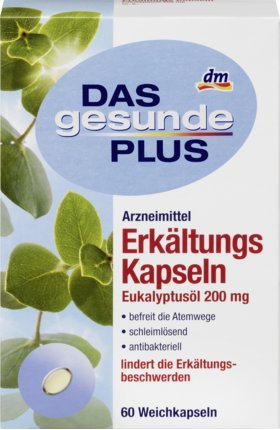 DAS gesunde PLUS Erkältungs Kapseln Eukalyptusöl 200 mg, 60 St Arzneimittel