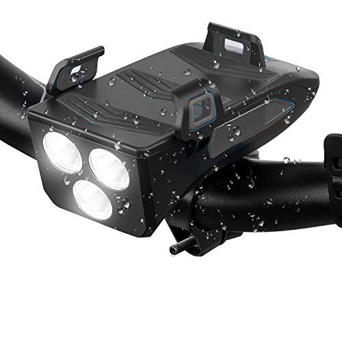 LED Fahrradlicht 4 in 1 SCHIELE LED Fahrradbeleuchtung Fahrradhupe, Fahrradtelefon-Powerbank, Fahrradhalterung für Handyhalter, 3 Licht-Modi, Schwarz