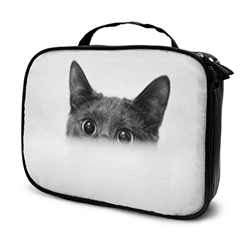 Close Up Monochrome Shot of Dark Grey Cat with Big Travel Kids Makeup Pouch Zipper Cosmetic Bag Cosmetics Bag for Women Multifunction Printed Pouch for Women