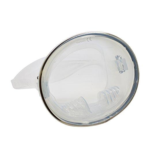 scuba-choice Spearfishing free Dive forma ovale in acciaio INOX classico maschera in silicone, trasparente