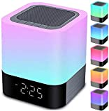 Night Lights Bluetooth Speaker, Alarm Clock Bluetooth...