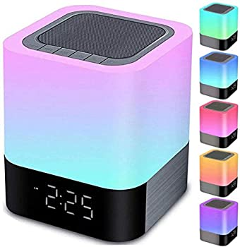 Night Lights Bluetooth Speaker Alarm Clock Bluetooth Speaker Touch Sensor Bedside Lamp Dimmable Multi-Color Changing Bedside Lamp MP3 Player Wireless Speaker with Lights