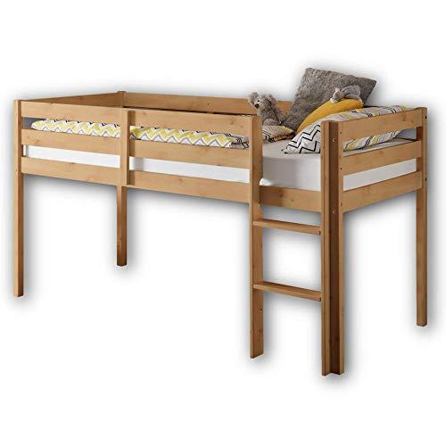 Stella Trading KENI Hochbett mit Leiter & 90 x 200 cm Liegefläche - Platzsparendes Kinder Etagenbett aus massiver Kiefer, natur - 97 x 113 x 207 cm (B/H/T)