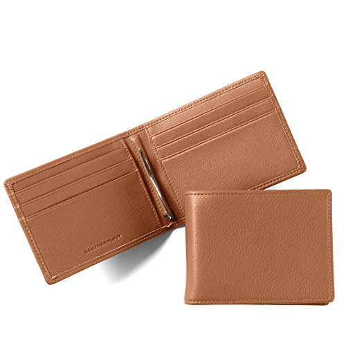 Leatherology Cognac Men's Bifold Wallet with Spring Money Clip - RFID Available