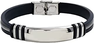 Striped Magnetic Masculinity Leather Bracelet, Adjustable Stainless Steel Bracelet, Striped Braided Leather Bracelet for M...