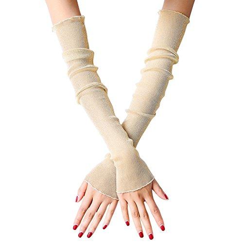 EachWell Women Girls UV Protection Long Lace Solid Fingerless Gloves Sunblock Arm Sleeves Beige