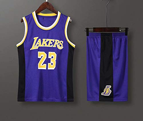 Jerseys Men's, NBA Los Angeles Lakers # 23 Lebron James - Niño Adulto Classic Baloncesto Sportswear Suelte Comfort Chalecta Tops Camisetas Sin Mangas Uniformes Set,Púrpura,S(Child) 115~125CM